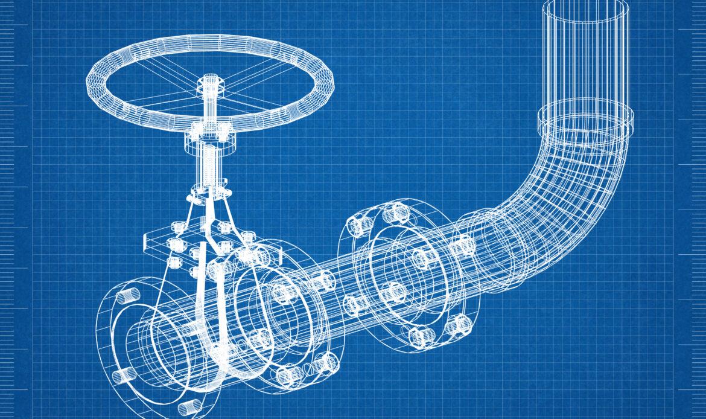 Valve Architect blueprint 3D illustration