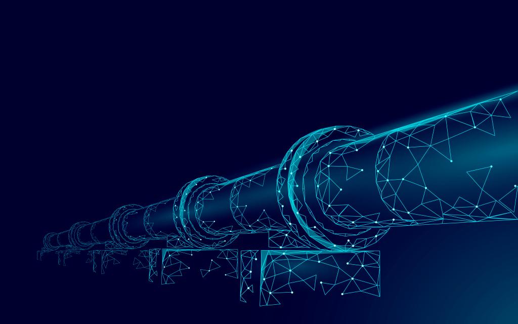 Oil pipeline low poly business concept. Finance economy polygonal petrol production. Petroleum fuel industry transportation line connection dots blue vector illustration