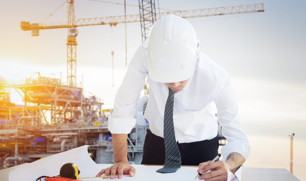 Professional Engineers with Project Control and Construction project management on offshore oil and gas platform.