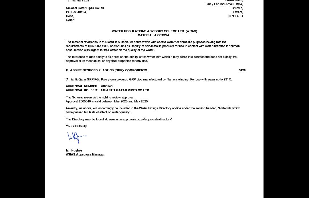 WRAS Certificate 2020